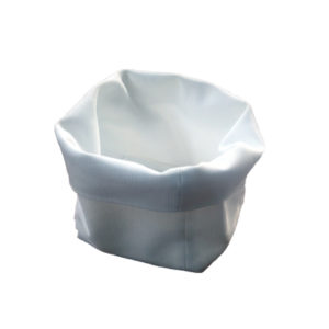 Cestino pane in stoffa cannete bianco 15x15 cm