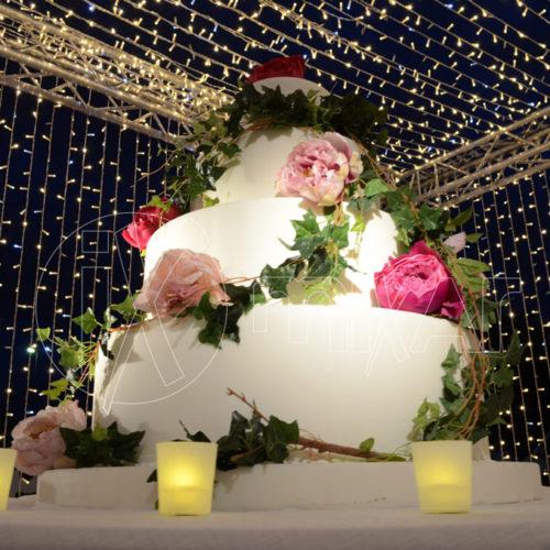 Cubo Luminoso Taglio Torta stringhe Bianco Caldo