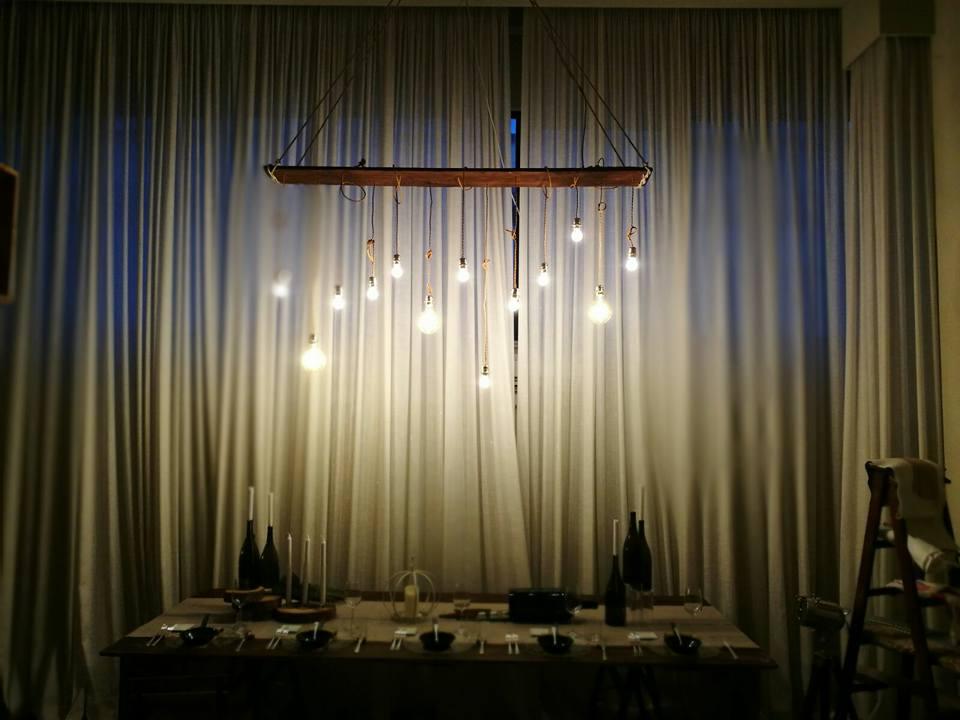 Noleggio lampadario in legno da interno e da esterno