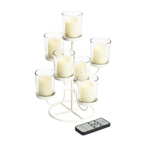 Candeliere Metallo Bianco e Bicchierini Vetro con 7 Candele